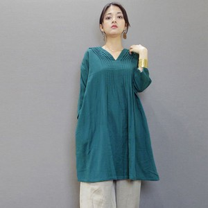 Double Gauze pin Tuck Neck Tunic