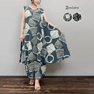 Hand-Painted Print Line Sleeveless One-piece Dress Madame