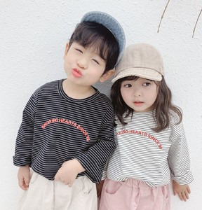 Children's Clothing Kids Cotton Border T-shirt Unisex 9/10Length Casual