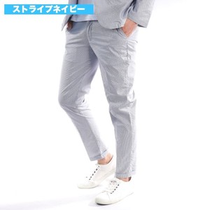 [2019NewItem] Ankle Pants Suit Set Stretch 9/10Length Skinny Stripe