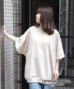 S/S [2019NewItem] Fleece Attached Plain Half Length Wide Sweatshirt