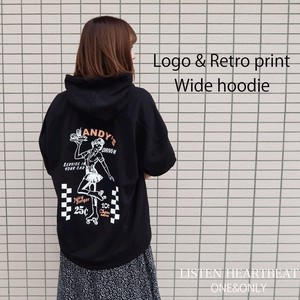 S/S [2019NewItem] Fleece Retro Print Girl Half Length Wide Hoody