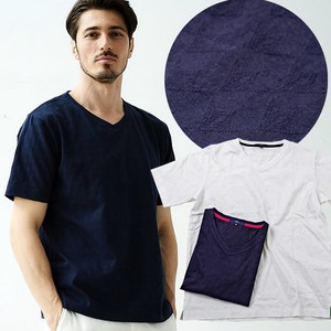 Jacquard Cotton Short Sleeve U-neck T-shirt