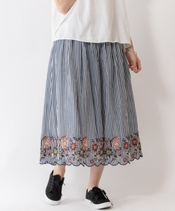 Stripe Pattern Embroidery Skirt