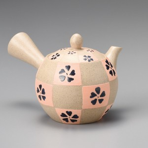 Steaming TOKONAME Ware Small Dot Orange Checkered Japanese Tea Pot