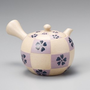 Steaming TOKONAME Ware Purple Checkered Japanese Tea Pot