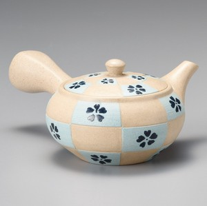 TOKONAME Ware Hiramaru Blue Checkered Japanese Tea Pot