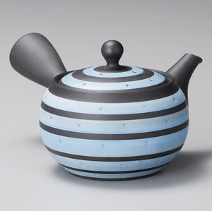 Steaming TOKONAME Ware Light Blue Line Japanese Tea Pot