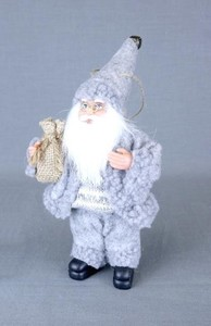 Gray Santa Ornament