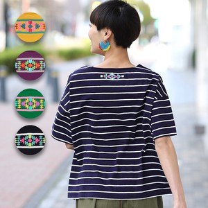 Petit Embroidery Border T-shirt Top Ladies Short Sleeve Border Embroidery