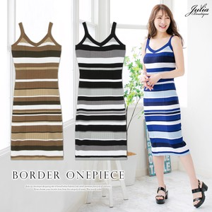 One-piece Dress Colorful Multi Border Summer Knitted Dear One-piece Dress