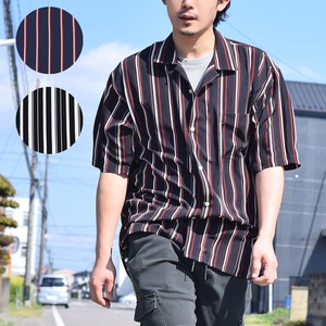 Print Stripe Short Sleeve Open Color Shirt