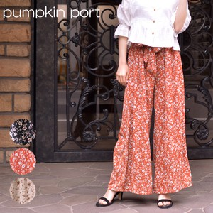 Floral Pattern Ribbon Belt Attached wide pants