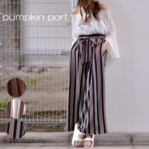 Ribbon Belt Attached Stripe wide pants