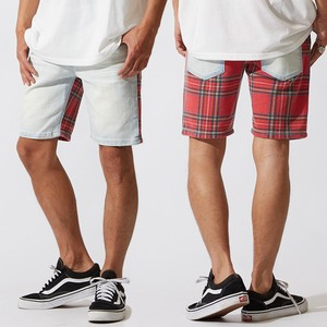 Men's Checkered Switching Stretch Denim Shor Pants Half Pants Shorts