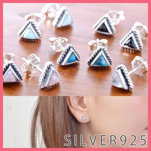 Silver 925 Natural stone Pierced Earring Triangle