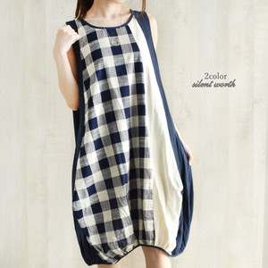 S/S Checkered Color Scheme Patchwork Balloon One-piece Dress