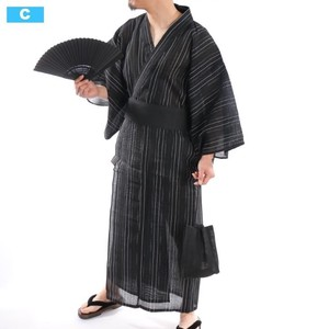【2019新作】 浴衣5点セット 帯 扇子 下駄 巾着 信玄袋 ストライプ 無地 着物 男性用