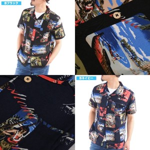 [2019NewItem] Rayon Aloha Shirt Repeating Pattern Open Color