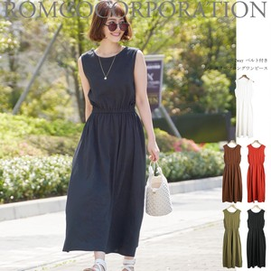 Clearance Sale For Summer Belt Attached Sleeveless Long One-piece Dress