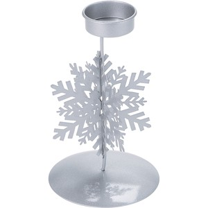 Snow Candle Stand Silver Christmas