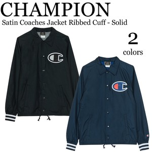 《即納》CHAMPION《2019春夏新作》■コーチジャケット■Satin Coaches Jacket Ribbed Cuff-Solid