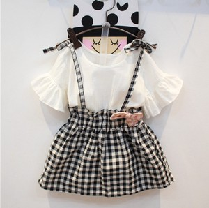 Korea Girl Frill T-shirt Checkered One-piece Dress Kids