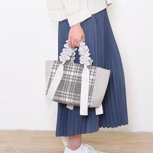 【2019予約商品】COOCO  チェック柄フリルハンドルトートバッグ