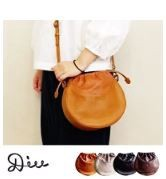 Round shape Shoulder Bag Leather Genuine Leather Ladies