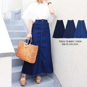 Line Denim Long Skirt Cut Bottom Denim Skirt Long Skirt