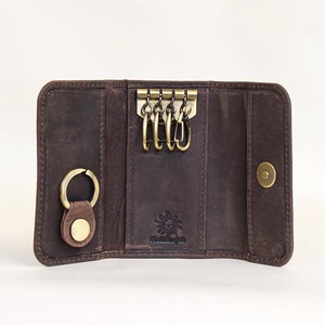 Cow Leather All Leather Key Case Genuine Leather Magnet Men's Ladies Brown