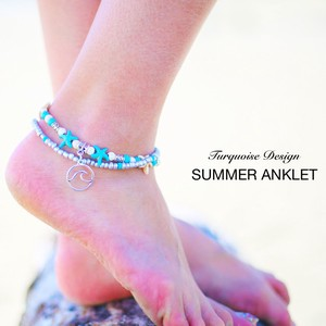 [2019NewItem] Wave Turquoise Hawaiian Anklet Look