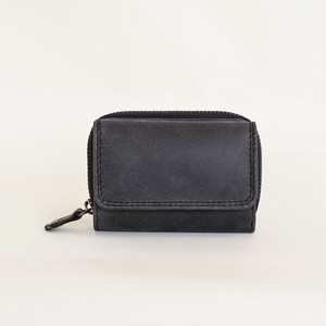 All Leather Wallet Three Compact Cow Leather Black Men's Ladies Black