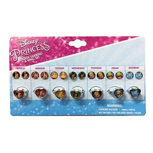 Disney Princes Pierced Earring SEAL Ring Set