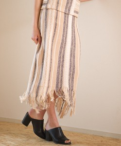 Knitted Jacquard Fringe Skirt