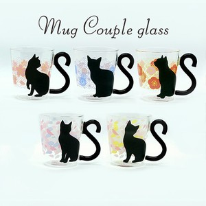 Couple Glass Japanese Pattern cat Cat Snowstorm Heat-Resistant Glass Glass Mug Gift