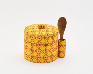 Sugar Pot Flower Checkered Pattern Yellow