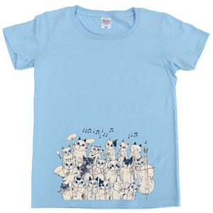SHINZI KATOH Short Sleeve T-shirt Light blue Cat Orchestra