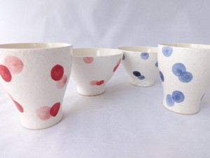 Bicolor Dot Rice Bowl Japanese Tea Cup HASAMI Ware Pottery
