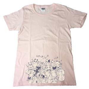 SHINZI KATOH Short Sleeve T-shirt Pink Cat Orchestra