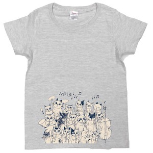 SHINZI KATOH Short Sleeve T-shirt Light Grey Cat Orchestra