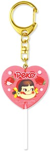 "Out Of Print Tease ""Peko"" Heart-shaped Candy Key Ring Strawberry"