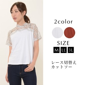 Cut And Sewn Ladies Short Sleeve Switching Lace