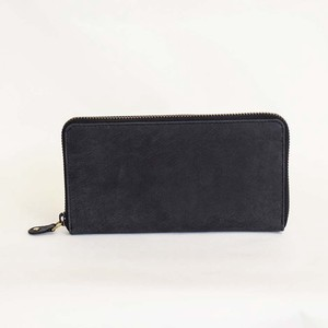 All Leather Long Wallet Cow Leather Black Men's Ladies Round Fastener Black