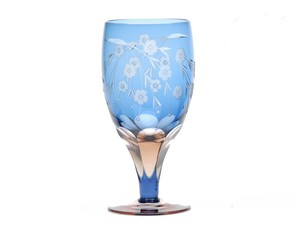 Edo-kiriko Cut Glass Sakura Beer Blue Pink