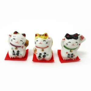 Japanese Style Interior Accessory Objects Pottery Beckoning cat 3 Pcs Set