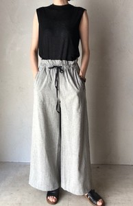 Linen Gather wide pants