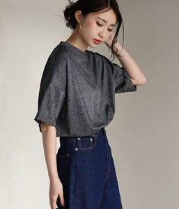 Leisurely Silhouette lame Petit High Neck T-shirt Shirt
