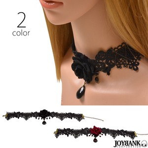 Rose Lace Choker Drop Stone Rose Accessory Necklace