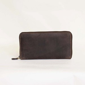 All Leather Long Wallet Cow Leather Men's Ladies Round Fastener Brown